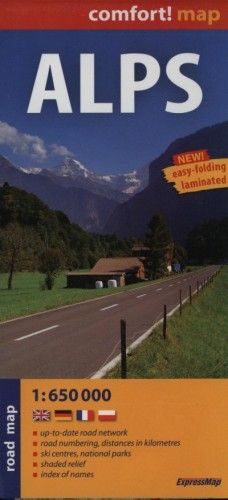 Alps - Comfort! map - Road map 1:650 000