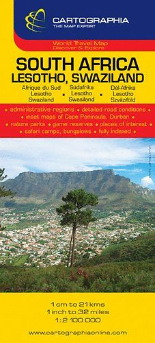 Dél Afrika, Lesotho, Szváziföld útitérkép 1:2 100 000