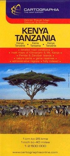 Kenya, Tanzánia útitérkép 1:2500000