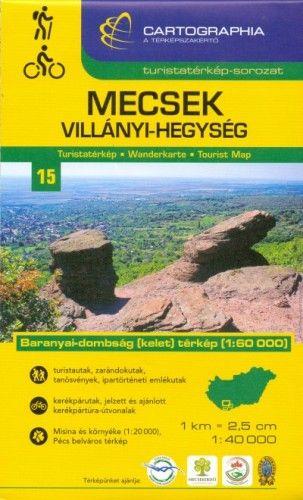 Mecsek és Villányi-hegység turistatérkép 1:40000 - Baranyai-dombság (kelet) térkép 1:60 000