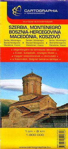 Szerbia, Montenegró, Bosznia-Hercegovina, Macedónia, Koszovó autótérkép - 1:800 000 -  pdf epub