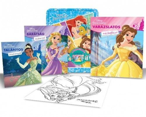 Disney - Disney Hercegnők fémdoboz (benne: 2 foglalkoztató, 1 színező, 4 filctoll, matricák és egy poszter)